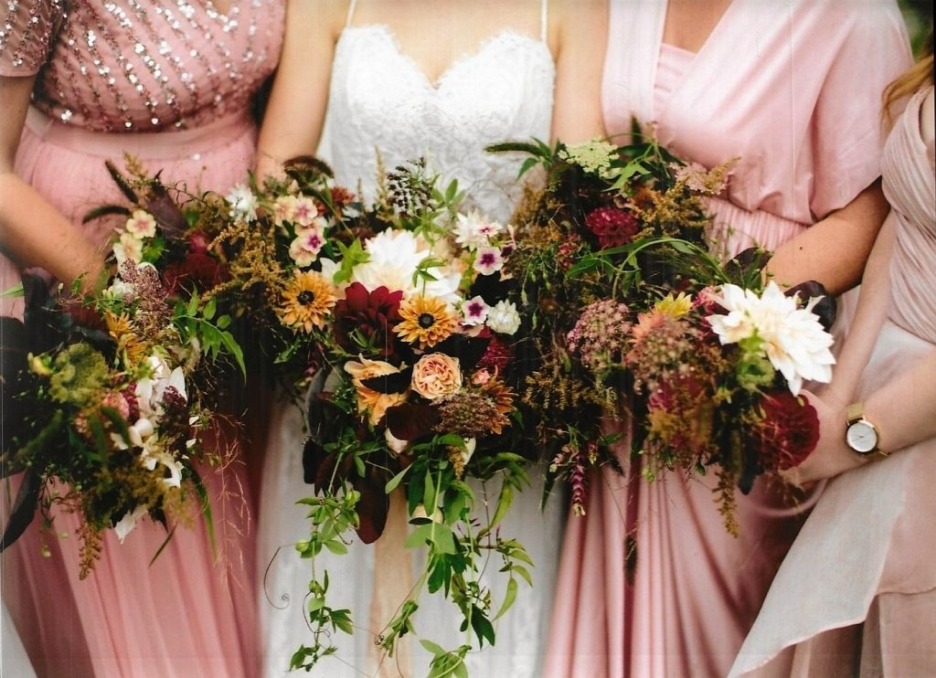 Bridal party flowers for an autumnal wedding in Tipperary Ireland. Cloughjordan house. Locally grown wedding flowers